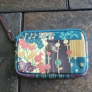 Fossil Brand Floral Print Leather Change Purse